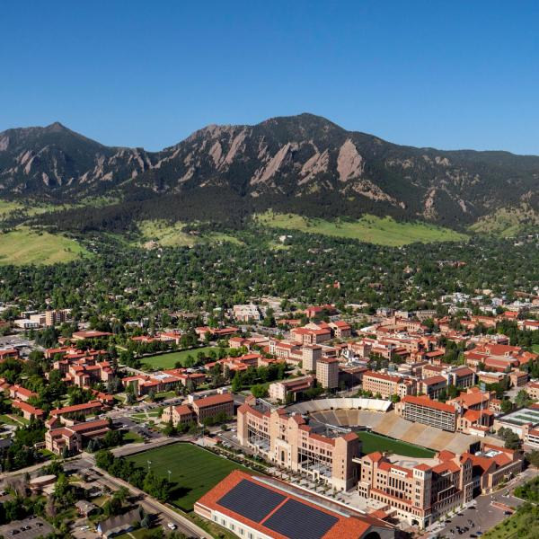Ariel picture of CU Boulder with mountains in the background