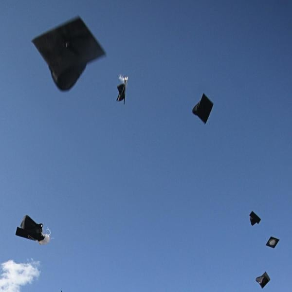 Picture of graduation hats thrown in the sky