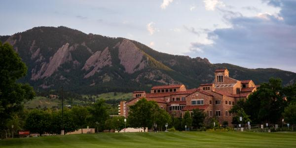 Flatirons with Campus in the front in June