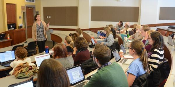Professor teaching undergraduate students