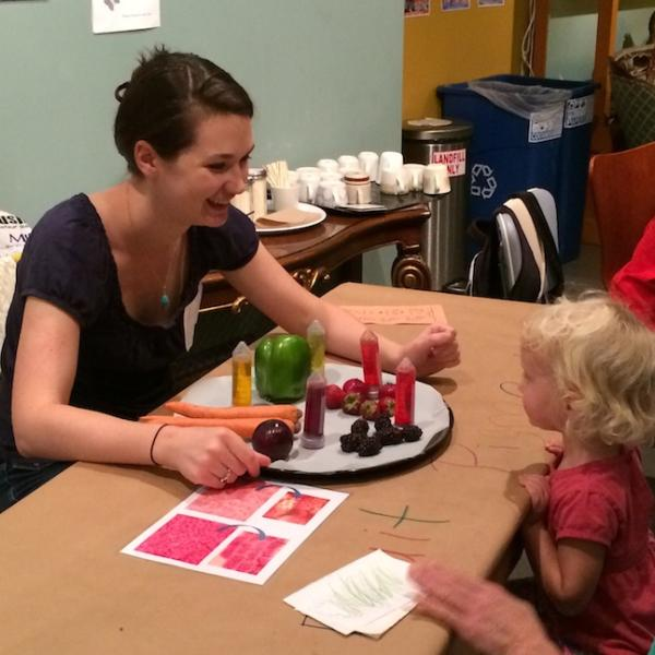 Andrea displays colorful anthocyanin and carotenoid pigments. Family Day, CU Museum of Natural History, Sept. 27, 2014