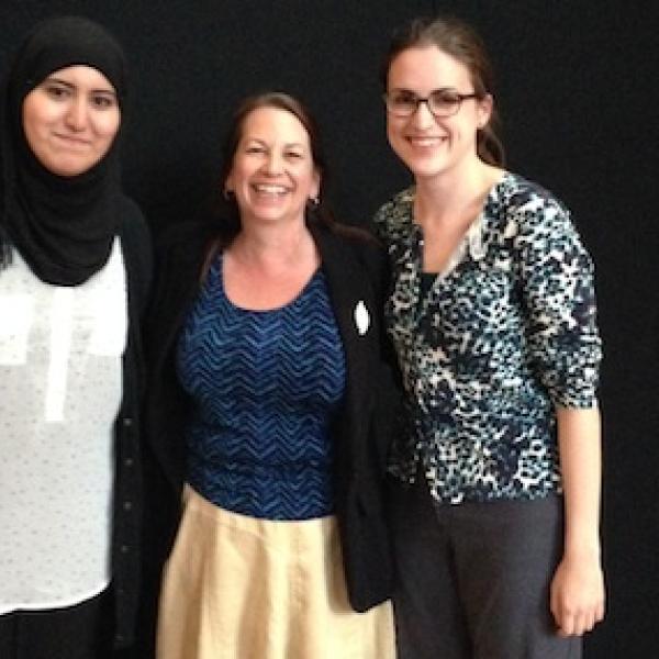 Rachel and Latifa's graduation with co-advisor Julie Stone, 2014