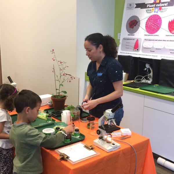 Julia leading Nano Day activities at the Boulder Library, 2017