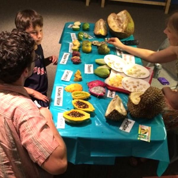 Stacey at our fruit-themed Family Day, CU Museum of Natural History, Sept. 27, 2014