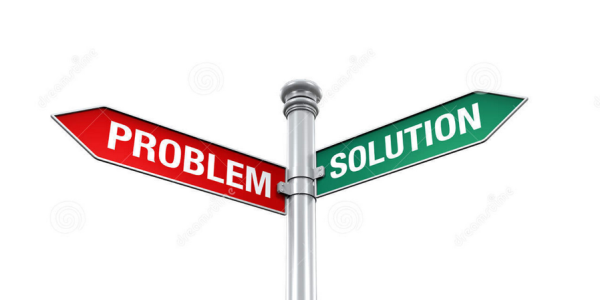 Street sign that says problem and solution