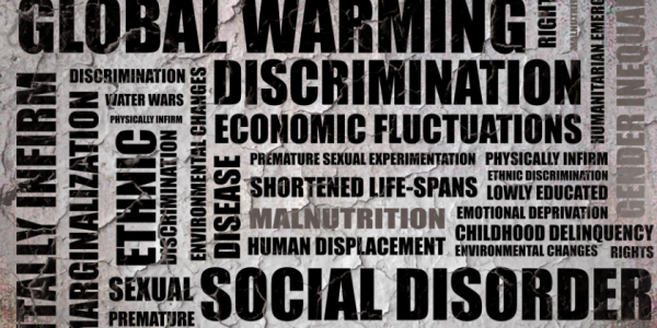 words that describe social problems (i.e. global warming, discrimination, and marginalization)