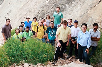 a group photo during a hike in a Chautauqua park