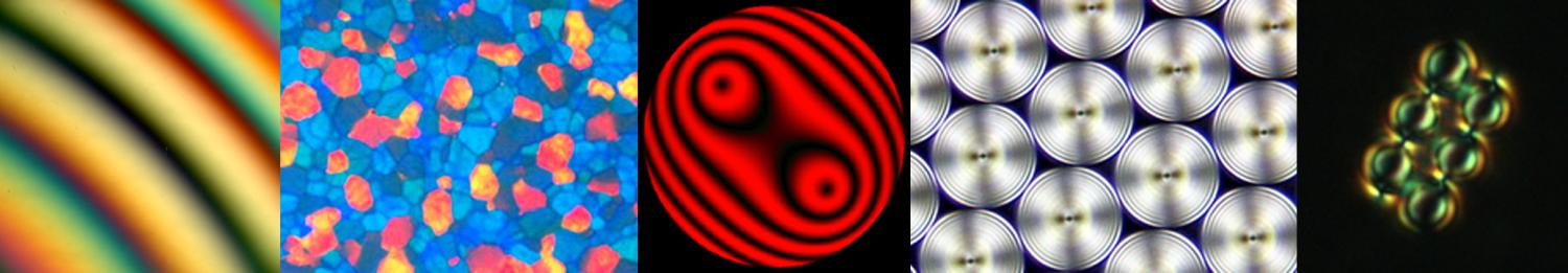 Optical interference pattern, a texture of a blue phase in cholesteric and toroidal focal domains in smectic thin film