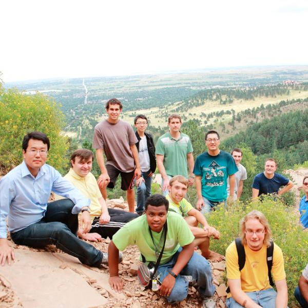 a group photo during a group hike in fall 2014