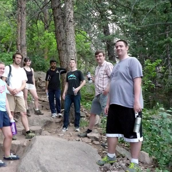 a group on the break during a group hike in 2013