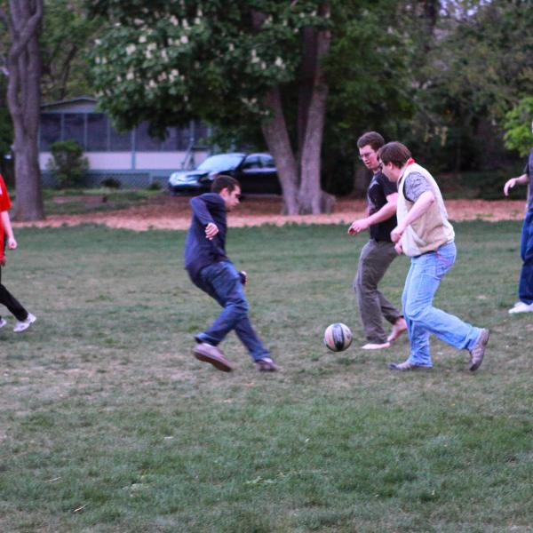 playing hard during a group soccer match in fall 2012
