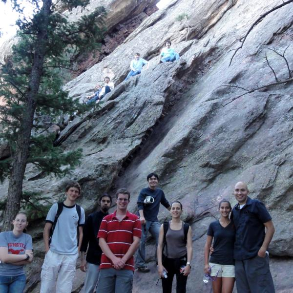 A group hiking in 2009