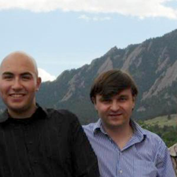 Members of Smalyukh's lab in the front of Flatirons in 2009