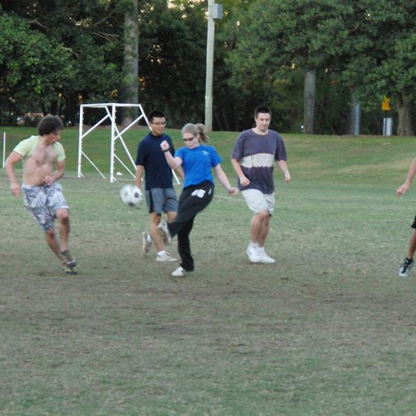 Playing soccer during the I-CAMP 2010 in Australia