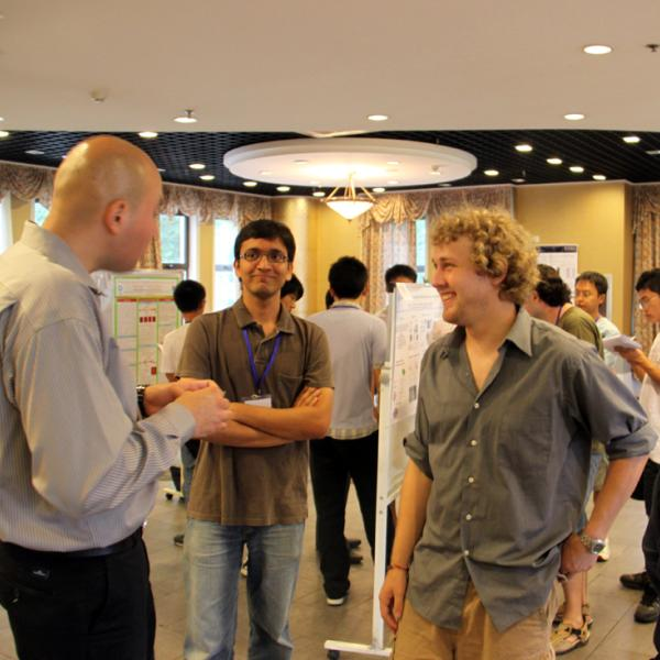 Dennis Gardner, Rahul Trivedi, Tyler Wingfield and Corinne Beier at the Qingdao poster session during I-CAMP 2009 in China
