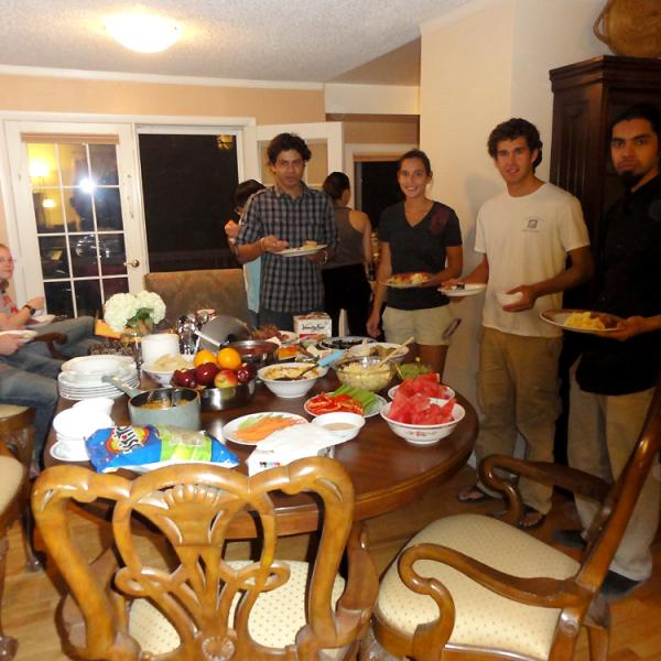 A party after a group hike in 2010
