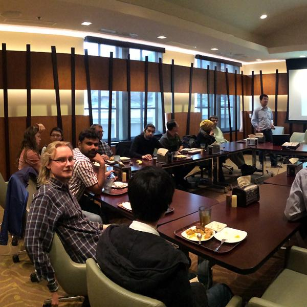 a group meeting and presentations at C4C in spring 2015