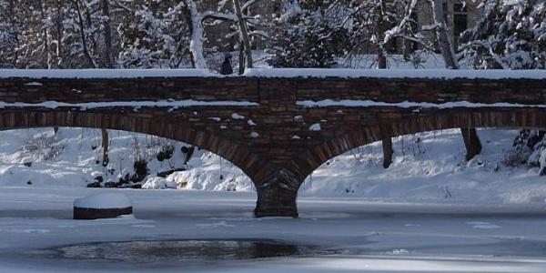 snowy varsity bridge