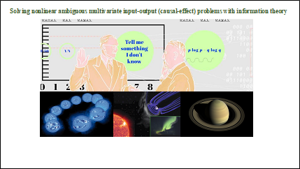 Professors in front of data and above images of sun and planets