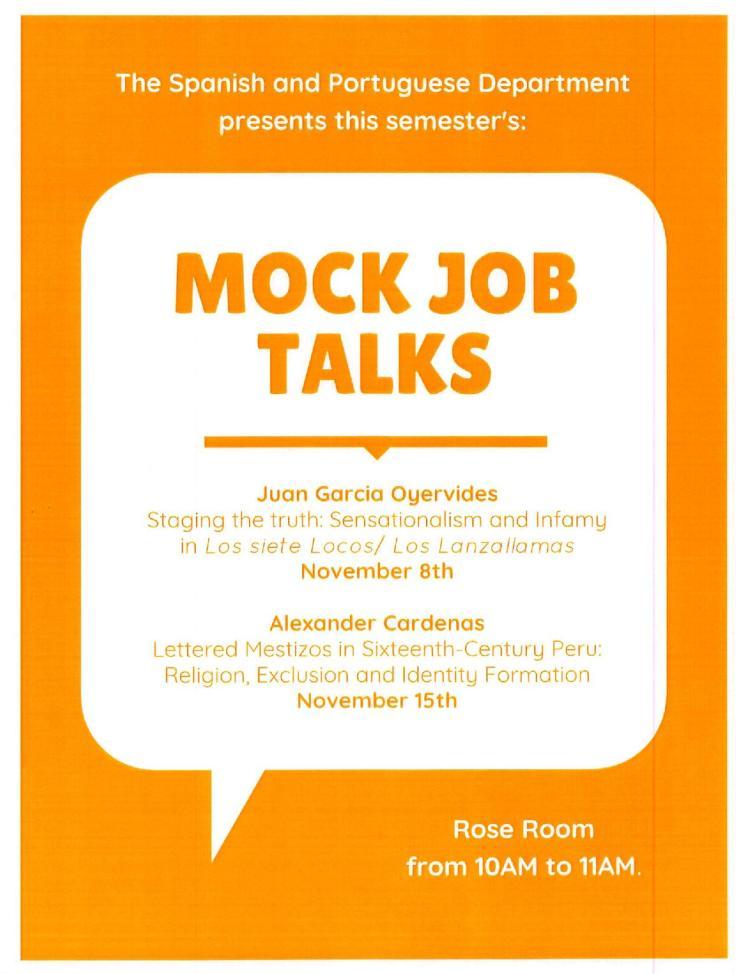 Mock job talks flyer