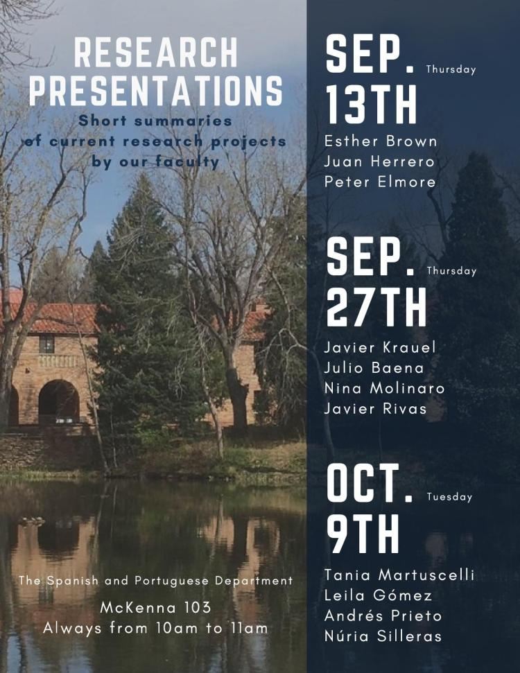 faculty research presentations fall 2018 spanish and portuguese
