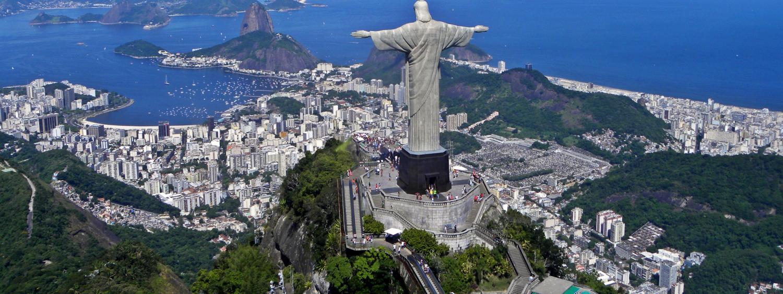 Christ the Redeemer Statue overlooking Rio de Janeiro Brazil