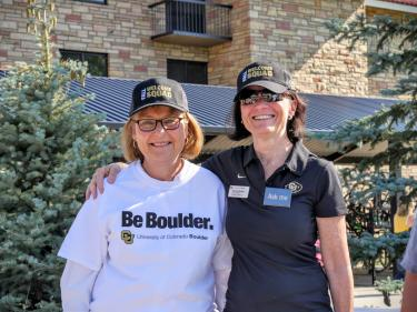 Frances Draper and former Boulder City Manager Jane Brautigam are pictured during the annual fall move-in, in which university and city leaders assist families who are helping students move into campus residence halls.