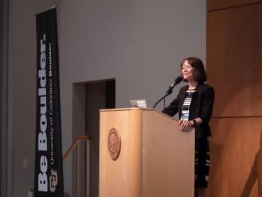 Frances Draper speaks at a campus event at the University Memorial Center.