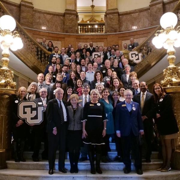 CU Advocacy Day Group Photo on Stairs