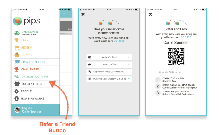 Refer a friend screen