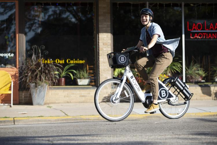 Person riding B-Cycle