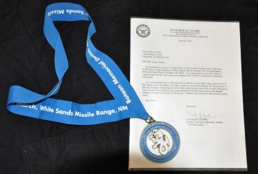 Donna's Medal and letter from the Army