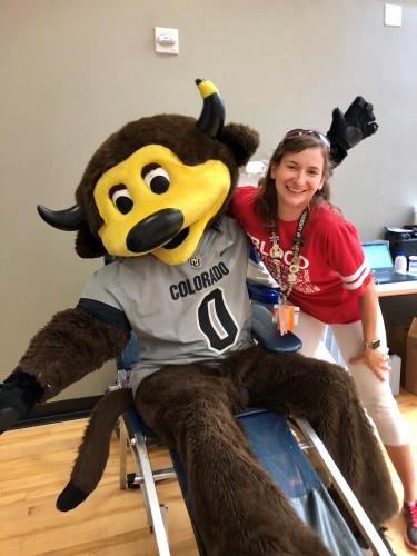 Lauren Thompson and Chip at the Blood Drive