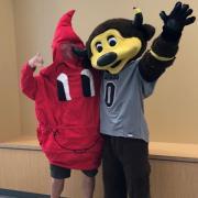 Bonfils Mascot & Chip waving hello