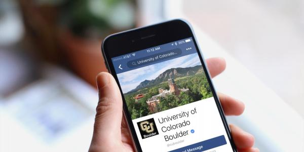 CU Boulder Facebook page on an iPhone