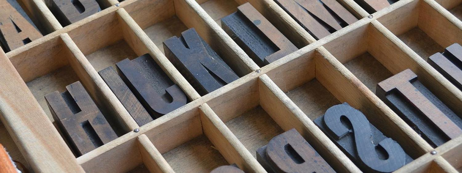 Wood box of old style font typefaces