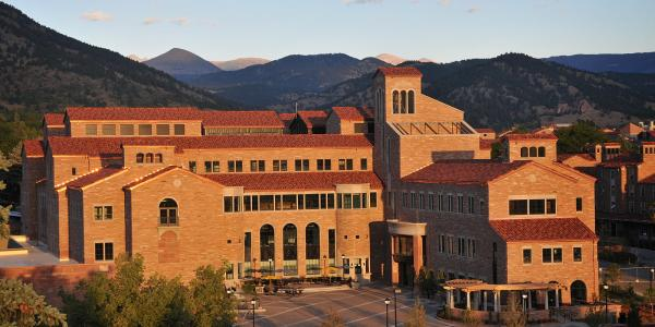 Scenic view of the Center for Community building on the CU Boulder campus