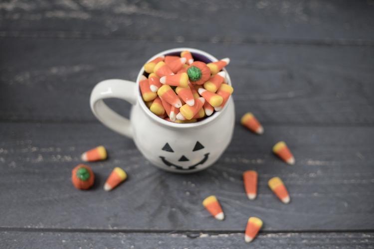 candy corn in mug