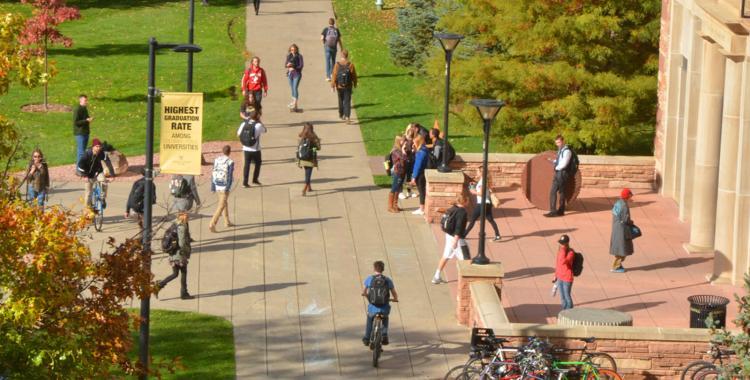 students walking on norlin quad