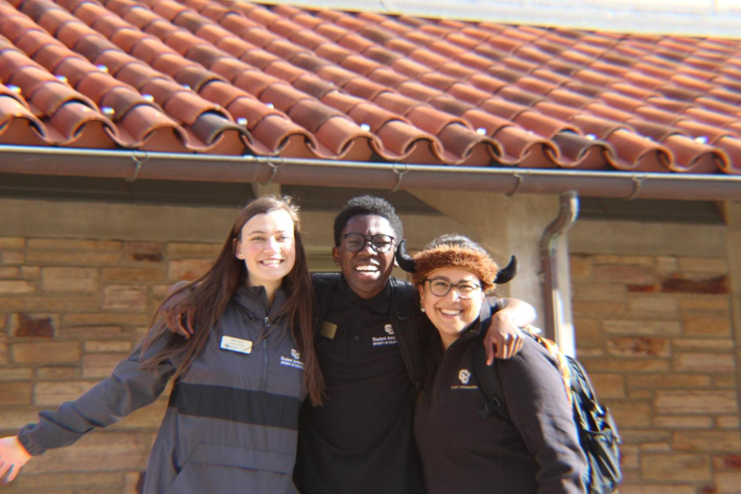 Tour guides helping at Hallett Hall