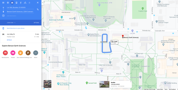 Google map from lot 360 to Benson Building