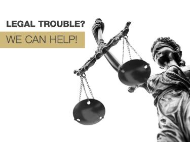 Legal trouble? We can help! Statue of lady justice