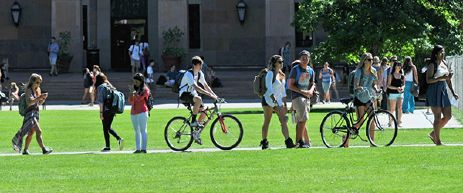 A line of students walk toward class during the summer.