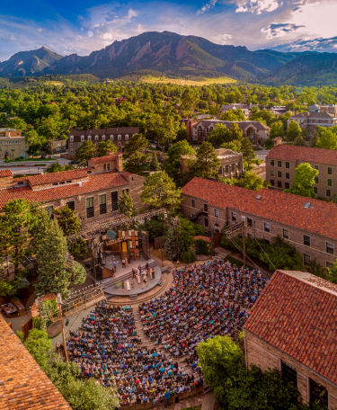 A packed audience watches a performance during the annual Colorado Shakespeare Festival