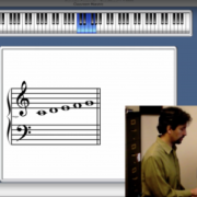 Screen shot of online lesson for piano class