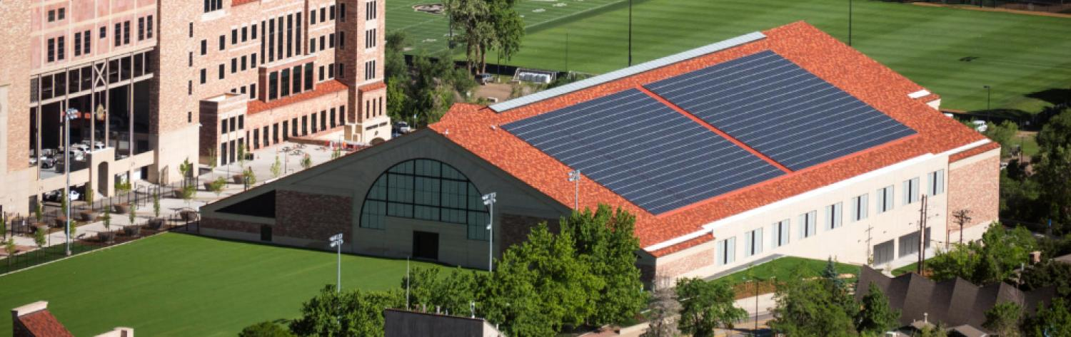 Solar panels on athletics practice facility