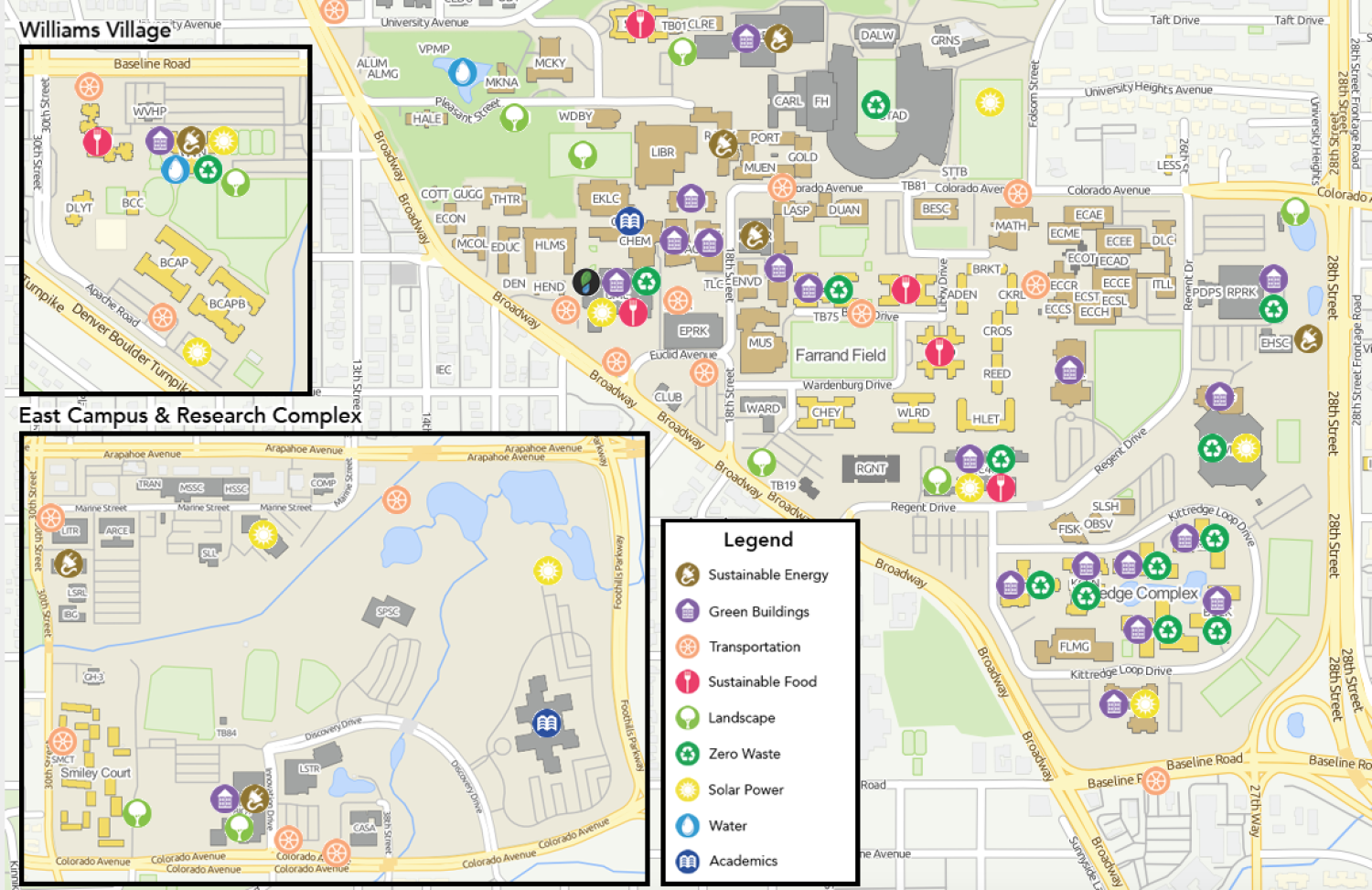 Campus map showing all sustainable resources available.