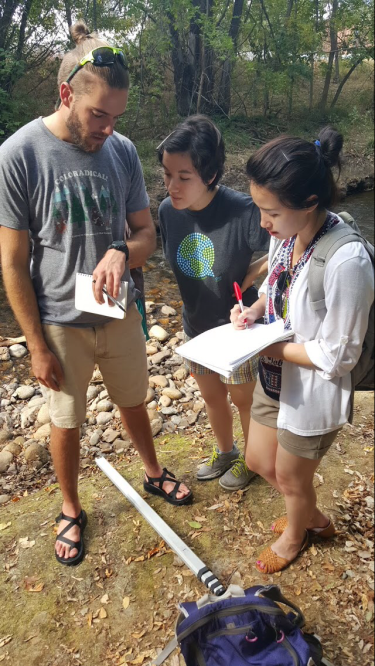 Students making field measurements in their outdoor environmental sampling and analysis class.