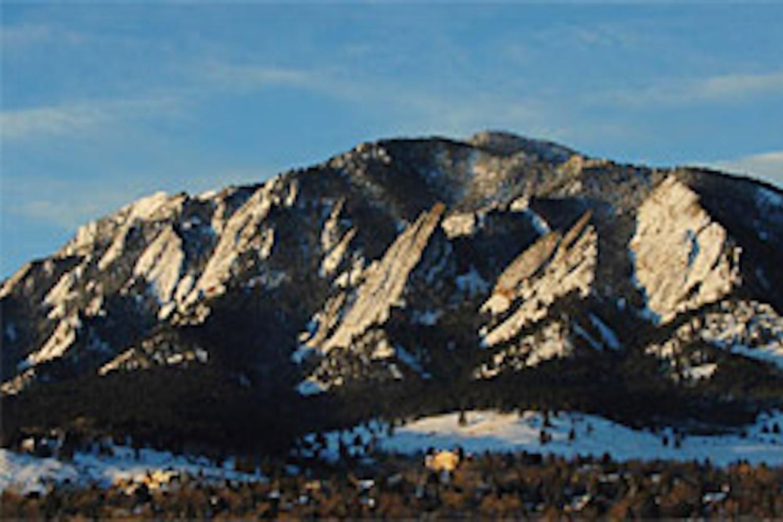 Flatiron Mountains in winter snow