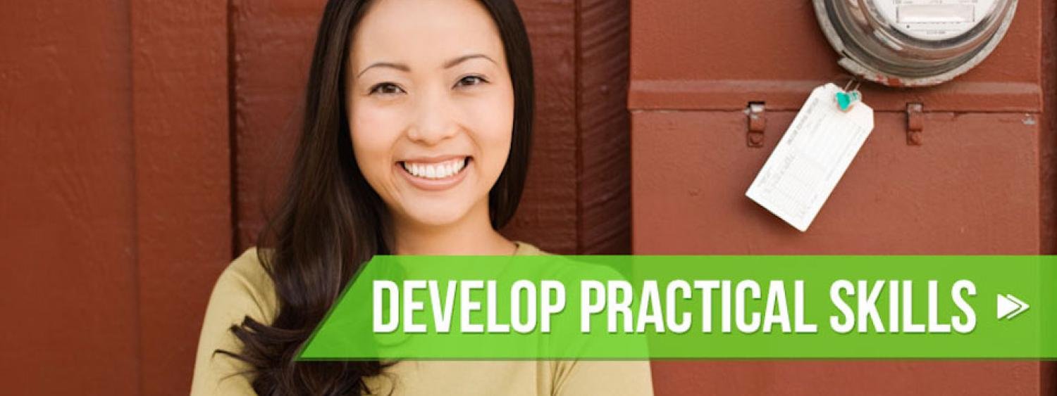 Smiling student: Develop Practical Skills